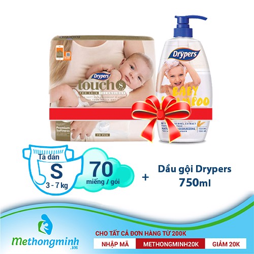 A.[combo] Tã dán Drypers Touch S 70 miếng (3 - 7kg) + Dầu gội Drypers 750ml