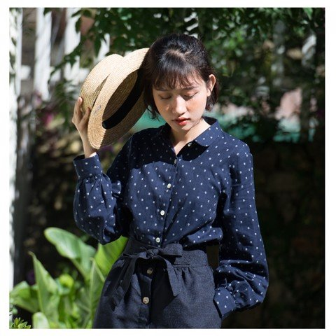 puff-sleeve shirt in navy with hash