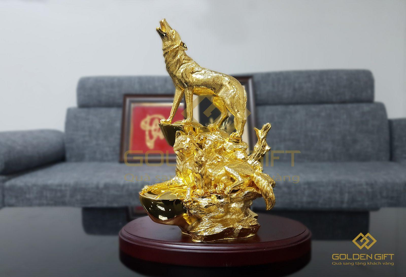 Tượng khuyển gia quần tụ mạ vàng 24K, Quà biếu Sếp dịp tết 2018, mua tượng linh khuyển tại hà nội