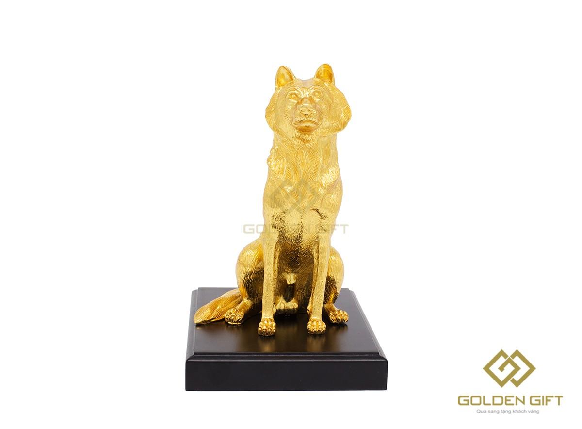 Tượng chó Mạ vàng24K, Tượng Linh vật Khuyển Trấn an gia