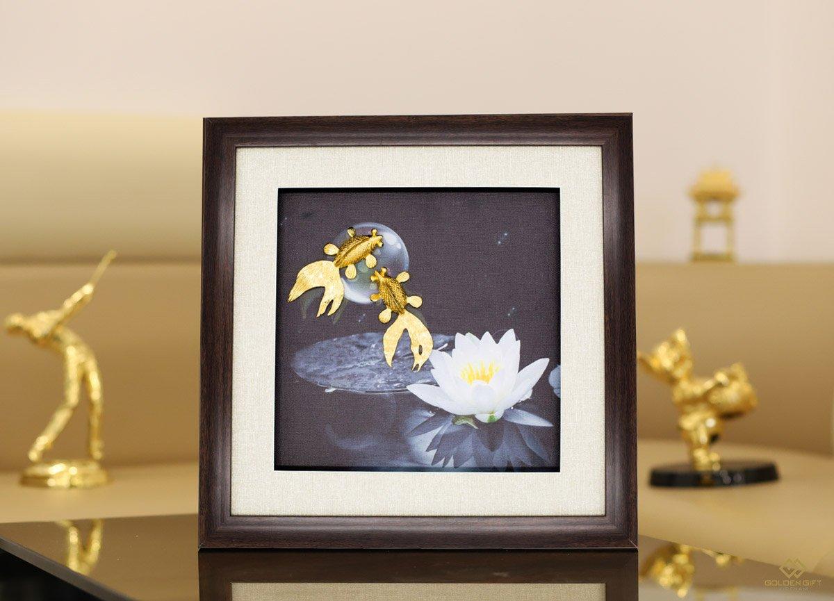 Tranh đôi cá vờn trăng mạ vàng✅tranh 3D mạ vàng✅quà tặng tân gia cao cấp✅mừng cưới, chúc hạnh phúc các cặp đôi