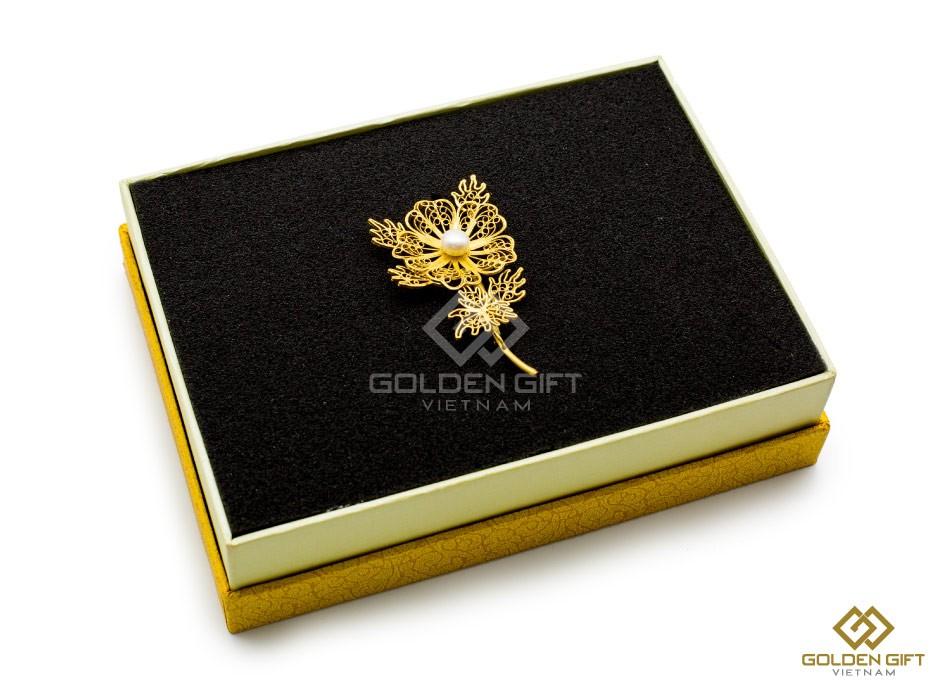 Hoa cài áo mạ vàng cao cấp, ve cài áo, hoa cài áo nữ mạ vàng, Phụ kiện cài áo, hoa cài áo vest nữ mạ vàng
