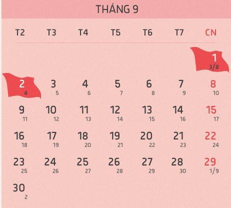 lịch nghỉ chi tiết ngày lễ quốc khánh 2/9/2019 Kỷ Hợi