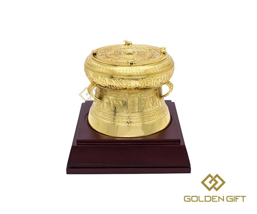 Trống đồng mạ vàng 24k, quà tặng cao cấp trống đồng, quà tặng khách nước ngoài