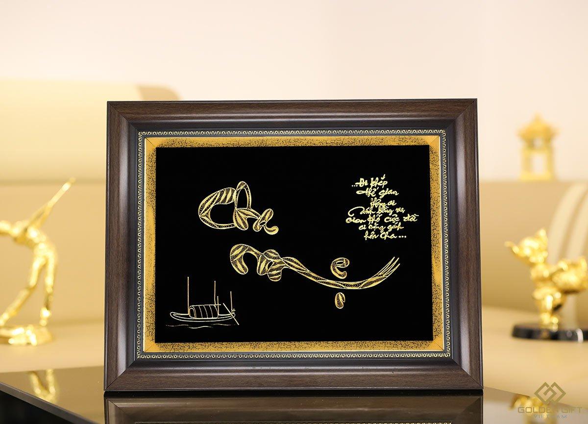 tranh chữ cha mẹ thư pháp mạ vàng, quà tặng ý nghĩa ngày gia đình việt nam