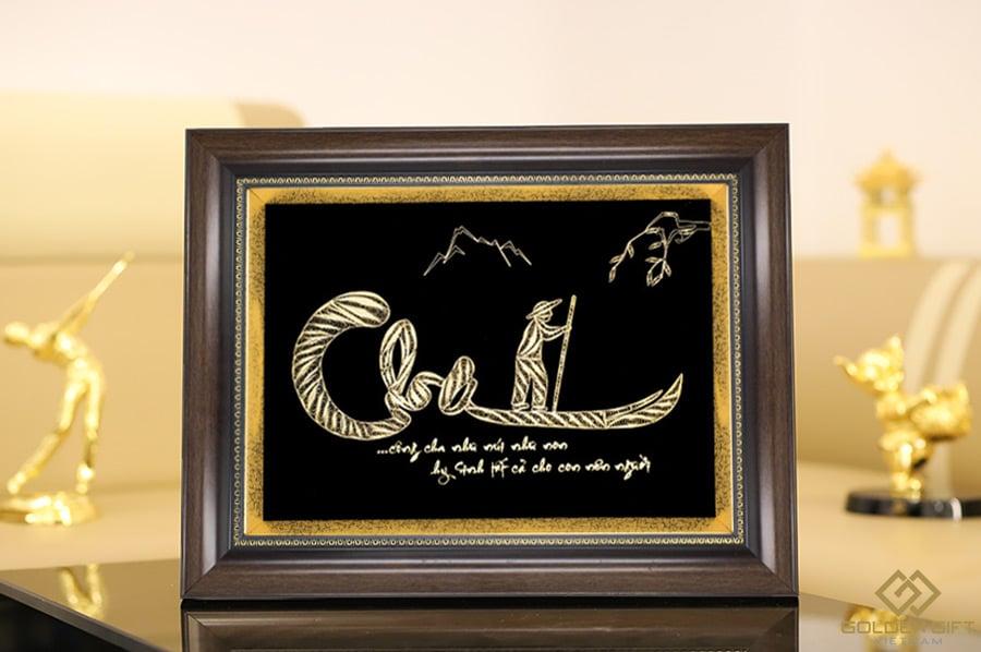 tranh chữ cha thư pháp mạ vàng✅quà tặng ý nghĩa ngày của cha✅father''s day