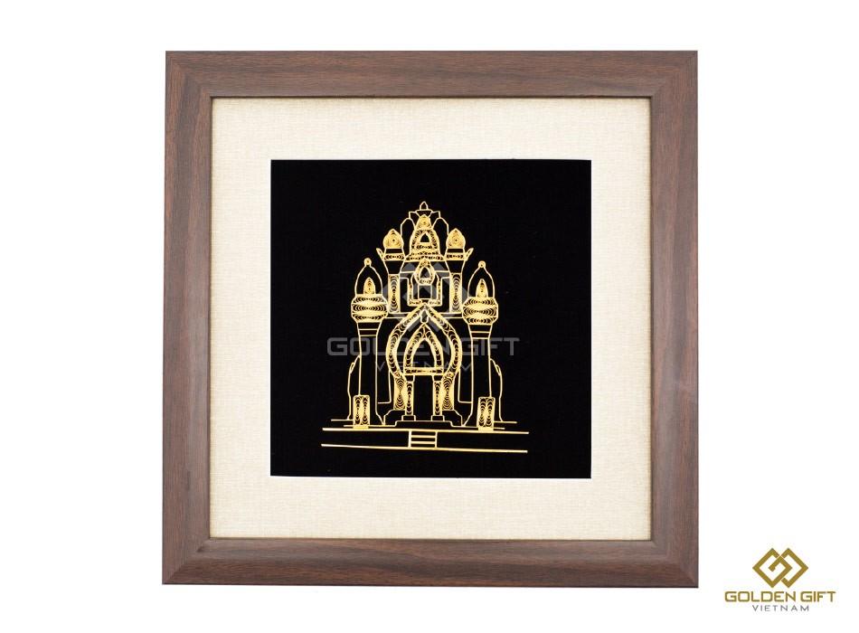 tranh tháp bà ponagar mạ vàng, quà tặng lưu niệm nha trang, khánh hòa