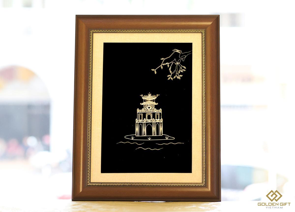 Tranh Tháp Rùa mạ vàng 24K✅Tranh về Hồ Gươm✅quà tặng ngoại giao chính thức của Thủ đô✅quà lưu niệm Hà Nội