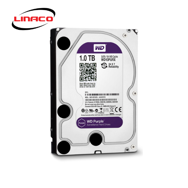 Ổ Cứng HDD Western Purple 1TB 3.5 inch Sata III /6Gb/s, 110MB/s 64MB CACHE 5400RPM