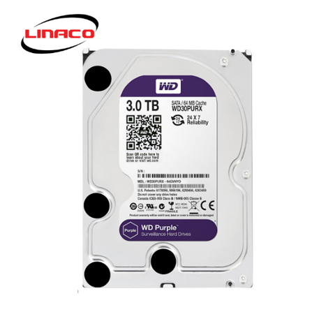 Ổ Cứng HDD Western Purple 3TB 3.5 inch Sata III /6Gb/s, 145MB/s 64MB CACHE 5400RPM