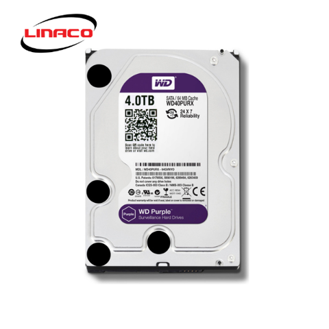 Ổ Cứng HDD Western Purple 4TB 3.5 inch Sata III /6Gb/s, 150MB/s 64MB CACHE 5400RPM