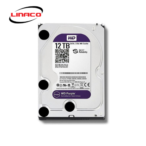 Ổ Cứng HDD Western Purple 12TB 3.5 inch Sata III /6Gb/s, 245MB/s 256MB CACHE 7200RPM