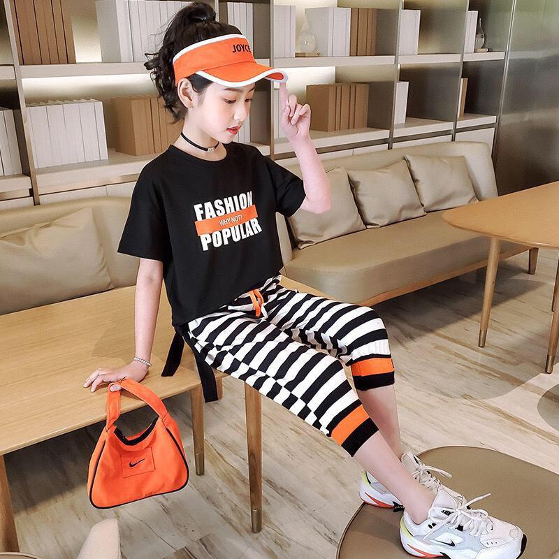 Bộ fashion quần sọc bé gái