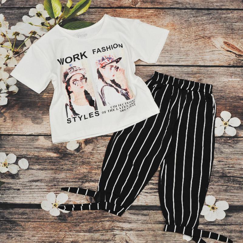 Bộ thun bé gái quần sọc Work Fashion