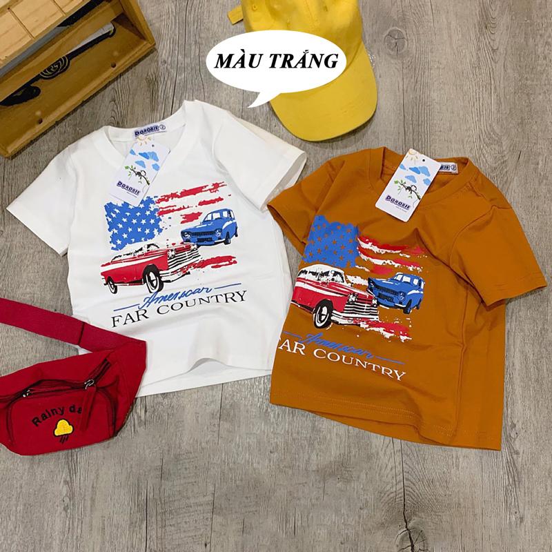 Áo bé trai hình xe cờ Mỹ