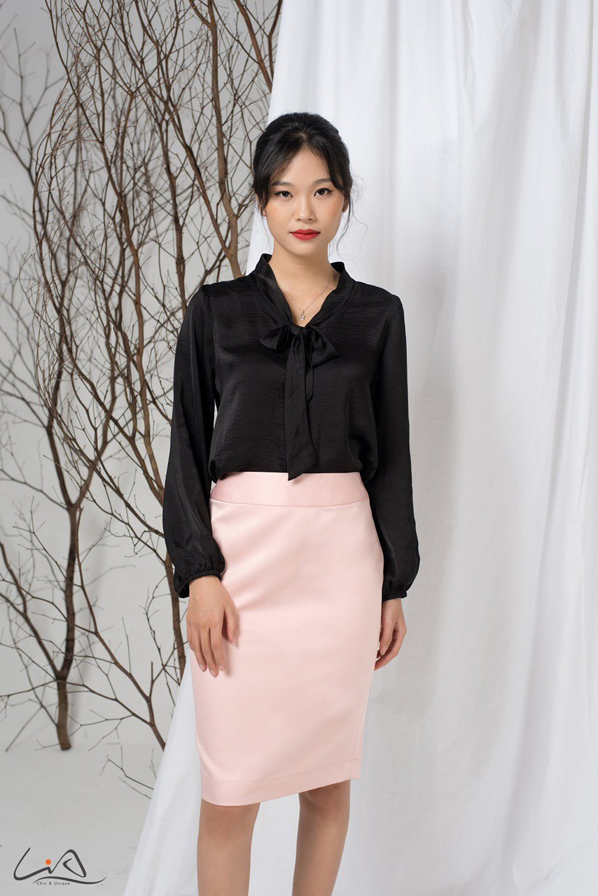 Set Sơ Mi Váy Chất Taffeta Nhật Sang Trọng