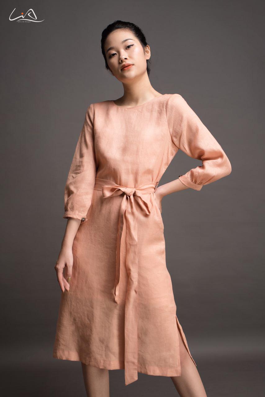 Đầm linen thiết kế cao cấp MCN01