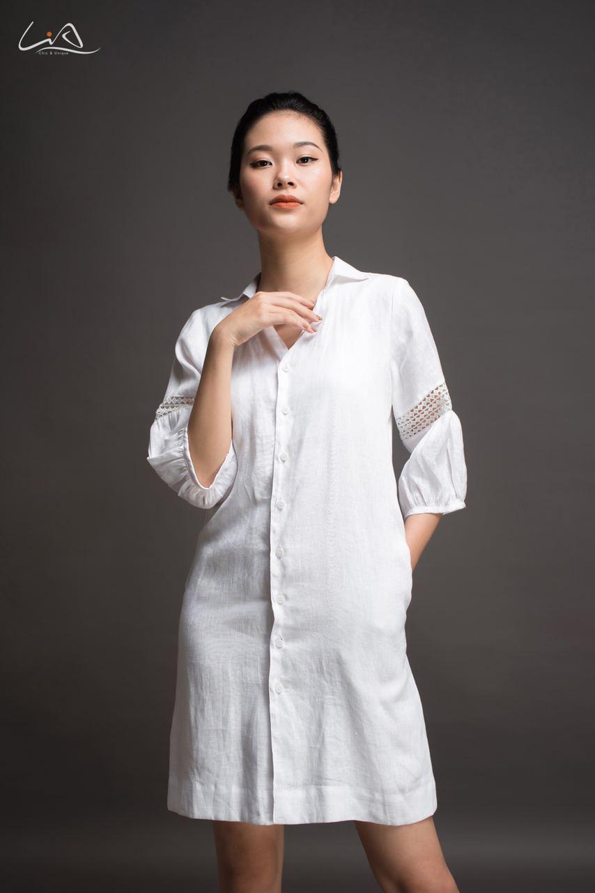 Đầm linen thiết kế cao cấp MCN09