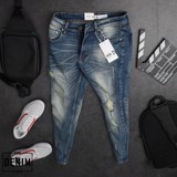 Quần Jeans ZRA blue ripped skinny