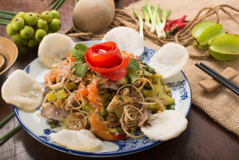 Country side mixed garden fruit salad with pork and pickled shrimp | Nộm đồng quê Việt thịt luộc, Tôm chua
