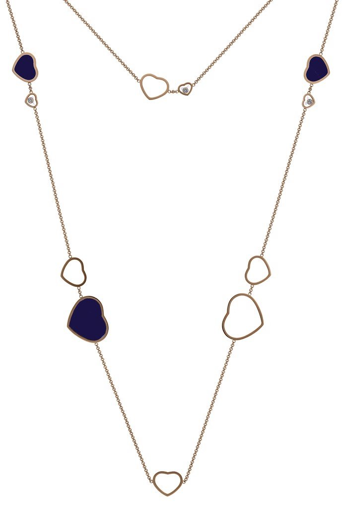 Chopard Happy Hearts Sautoir Necklace Rose Gold - Blue Stone