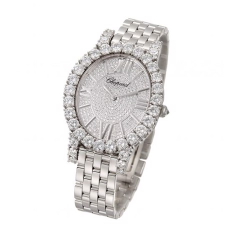 Chopard L'heure Du Diamant Oval Quartz Full Diamond White Gold Bracelet 40mm