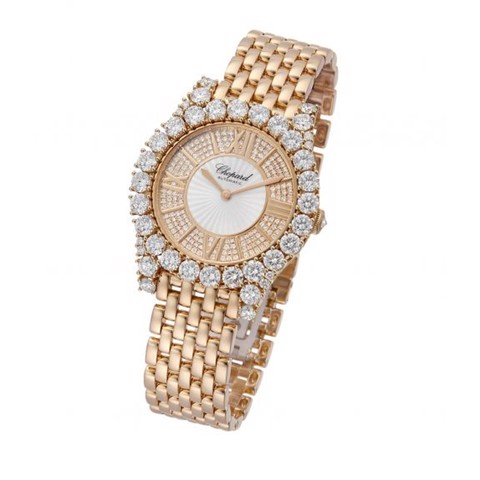 Chopard L'heure Du Diamant Round Automatic Diamond Rose Gold Bracelet 36mm