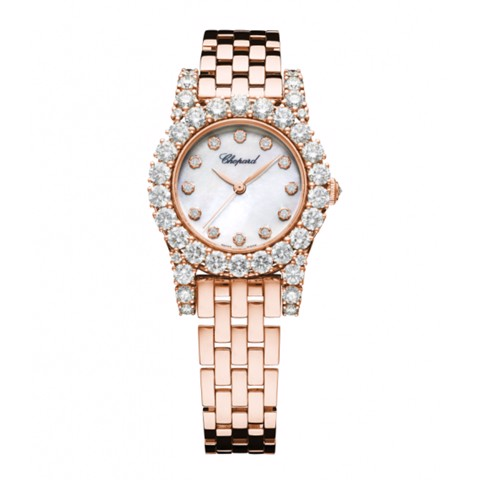 Chopard L'heure Du Diamant Round Automatic Diamond Rose Gold Bracelet 30mm