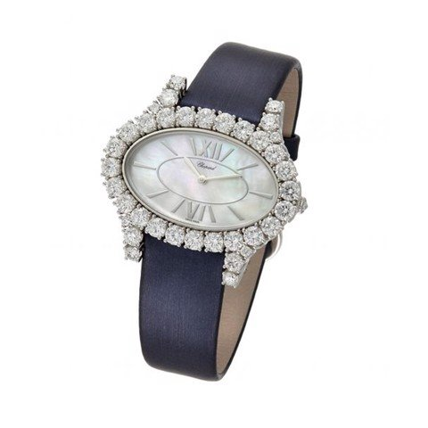Chopard L'heure Du Diamant Oval Horizontal Quartz Diamond White Gold Satin Strap 28mm