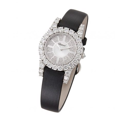 Chopard L'heure Du Diamant Round Mini Quartz Diamond White Gold Satin Strap 30mm