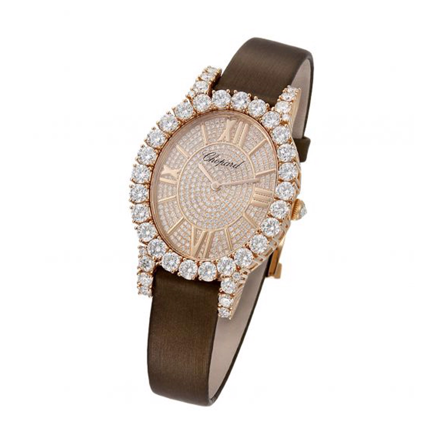 Chopard L'heure Du Diamant Oval Quartz Full Diamond Rose Gold Satin Strap 40mm
