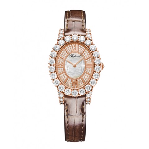 Chopard L'heure Du Diamant HMM Full Diamond Rose Gold Leather Strap 34mm