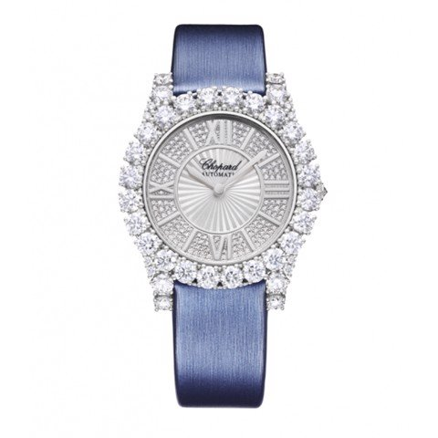 Chopard L'heure Du Diamant Round Automatic Diamond White Gold Satin strap 36mm