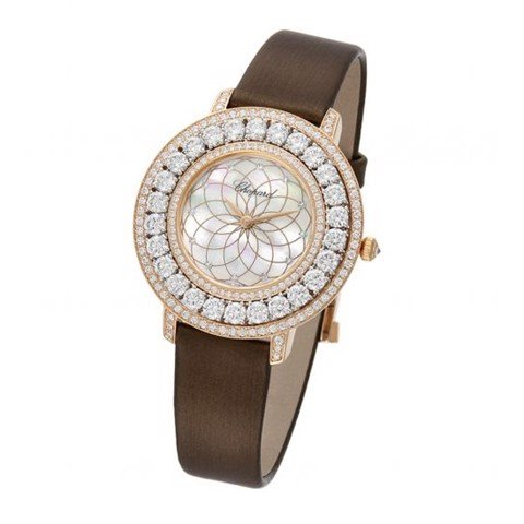 Chopard L'heure Du Diamant Round Quartz Diamond White-Rose Gold Satin Strap 36mm