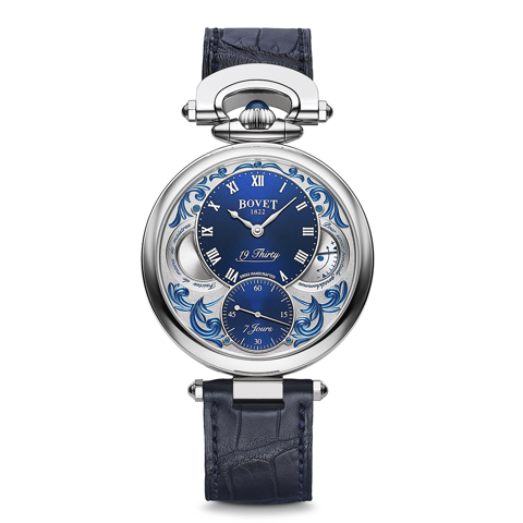 Bovet 19Thirty Fleurier Hand-engraved Blue background with lacquer 42mm