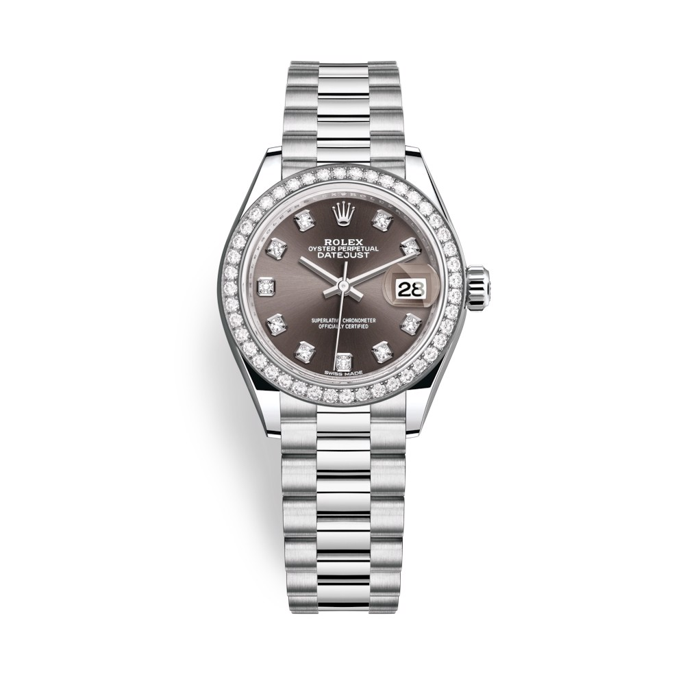 Rolex Lady-Datejust 28mm Platinum and Grey Dial 279136RBR-0011