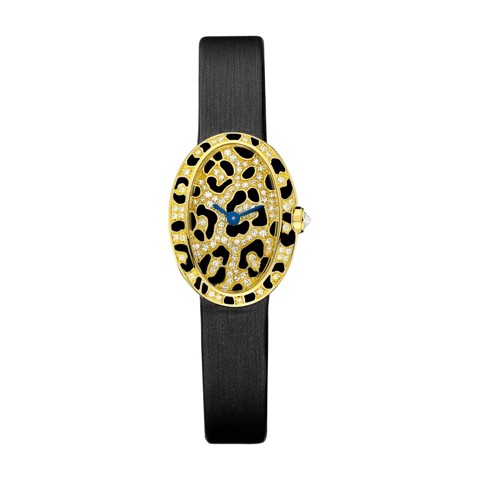 Cartier Baignoire Panther Spots Mini Yellow Gold Enamel Diamonds Fabric