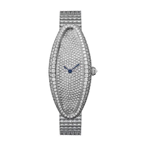 Cartier Baignoire Allongée Medium White Gold Diamonds