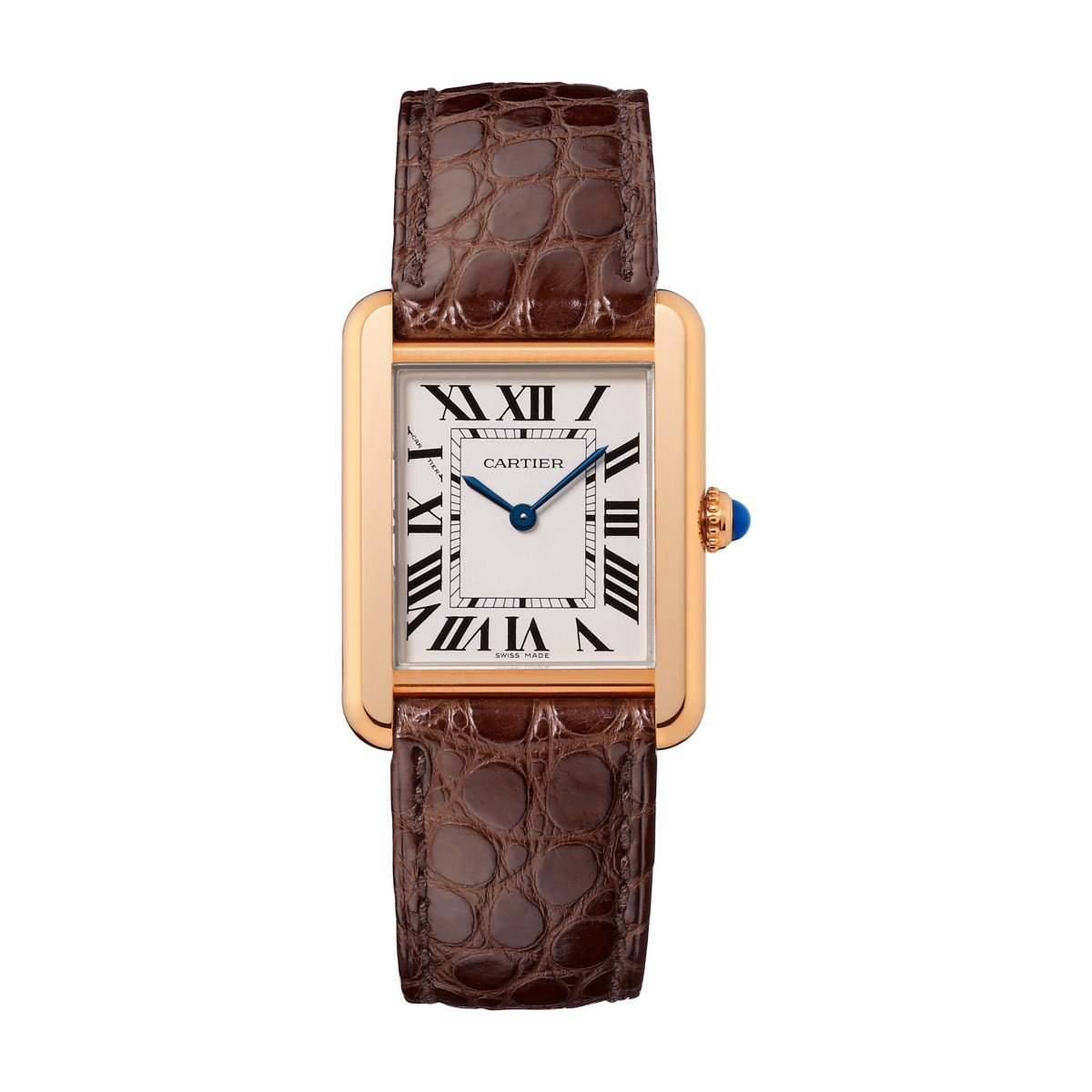 Cartier Tank Solo Small Model Pink Gold And Steel Leather