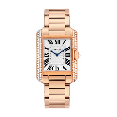 Cartier Tank Anglaise Medium Model Pink Gold Diamonds