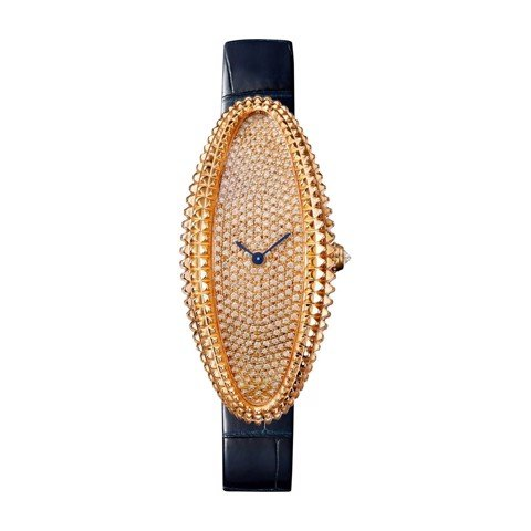 Cartier Baignoire Allongée Medium Pink Gold Diamonds Leather