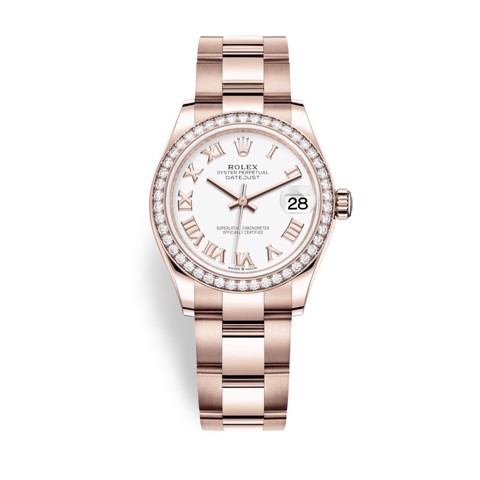 Rolex Datejust 31mm Everose Gold and White Dial 278285RBR-0007