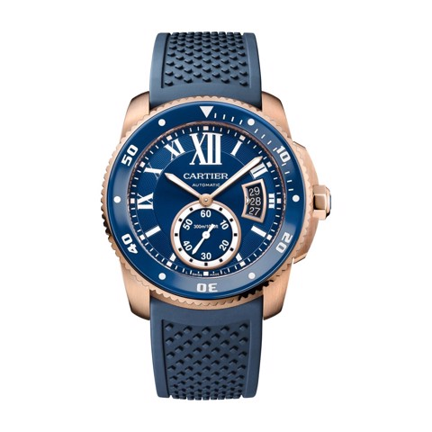 Cartier Calibre De Cartier Diver Blue Pink Gold Rubber