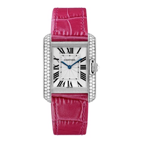 Cartier Tank Anglaise Medium Model White Gold Leather Diamonds