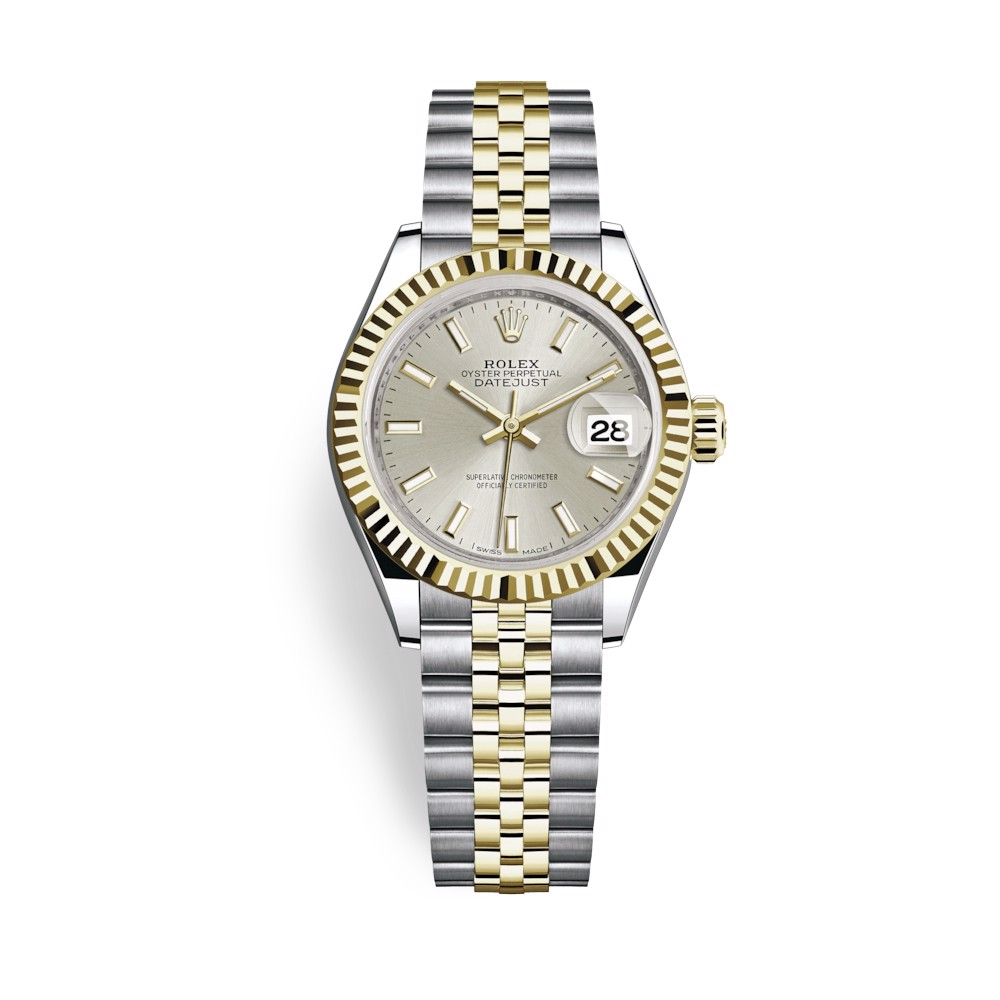 Rolex Lady-Datejust 28mm Stainless Steel Yellow Gold and Silver Dial 279173-0019