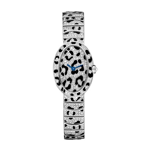 Cartier Baignoire Panther Spots Mini White Gold Enamel Diamonds