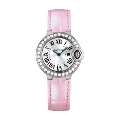 Cartier Ballon Bleu de Cartier 28mm White Gold Diamonds Sapphire Leather