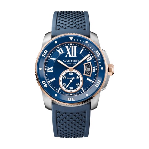 Cartier Calibre De Cartier Diver Blue Pink Gold Steel Rubber