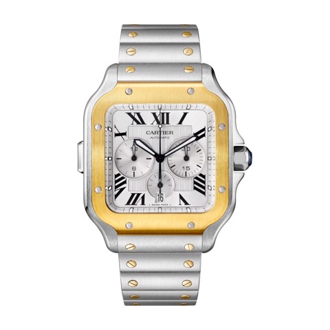Cartier Santos De Cartier Chronograph XL Yellow Gold Steel Bracelet and Rubber