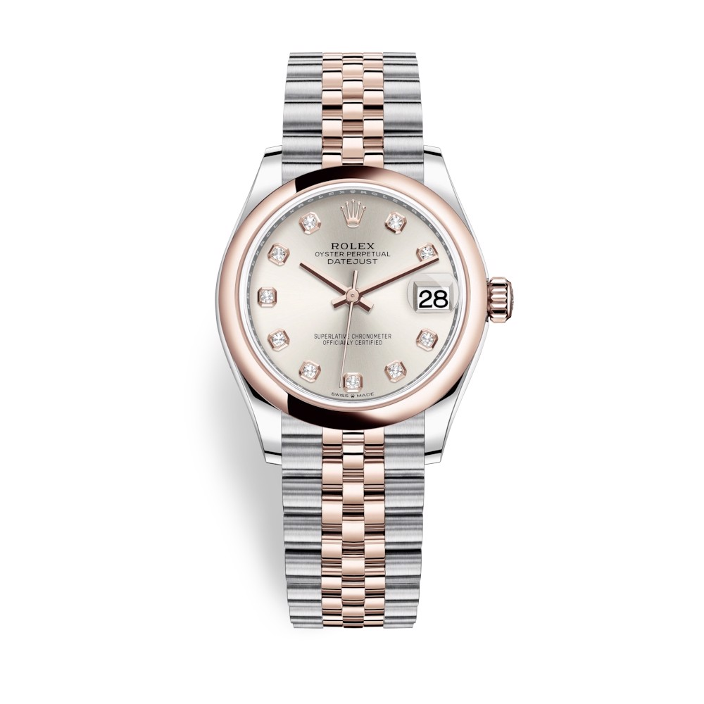 Rolex Datejust 31mm Stainless Steel and Everose Gold Silver Dial 278241-0016